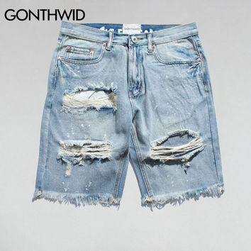 Ripped Destroyed Distressed Denim Shorts Men Hole Denim Shorts Blue Male Hip Hop Fashion Casual Dot Jeans Short