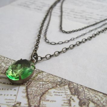 SALE Necklace Vintage Jewel Glass Peridot by laurenblythedesigns