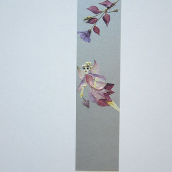 "Handmade unique bookmark ""Messenger of Love"" - Decorated with dried pressed flowers and herbs - Original art collage."