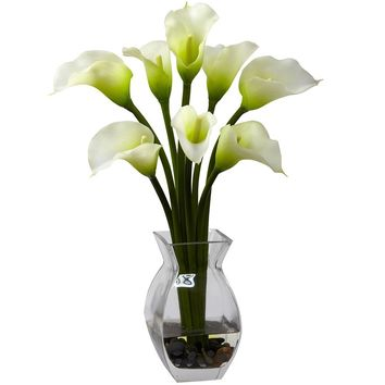 Silk Flowers -Classic Cream Calla Lily Arrangement Artificial Plant