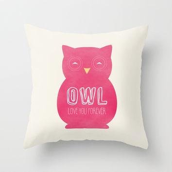 Owl love you forever - Pink Owl Throw Pillow by Allyson Johnson