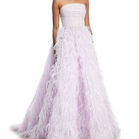 Monique Lhuillier Strapless Feather-Embellished Ball Gown
