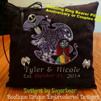 Nightmare Before Christmas PiLLoW WEDDiNG RiNG BEAReR ANNiVeRSaRY CoUPLeS Gift Personalized Unique Boutique Embroidered Designs by Sugarbear