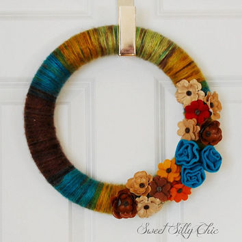 Yarn Wrapped Wreath, Front Door Wreath, Indoor Wreath, Teal Green Gold Brown Yarn Wreath with Fabric Flowers, Winter Wreath, Spring Wreath