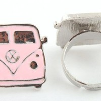 Girls Silver with Pink Bus Style Metal Adjustable Finger Ring