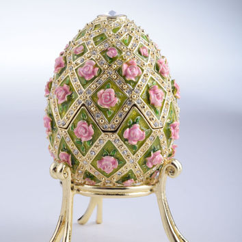 Pink Roses Faberge Egg Trinket Box Handmade by Keren Kopal Decorated with Swarovski Crystals