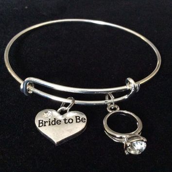 Bride To Be Silver Expandable Charm Bracelet Adjustable Wire Bangle Meaningful Wedding Shower Bridal Trendy Gift