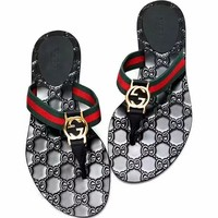 GUCCI Classic Hot Sale Men Casual Stripe Slippers Shoes Flip-Flops