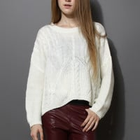 Cable Knit Pullover Sweater Multi S/M