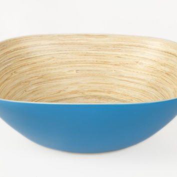 Square coiled bamboo serving bowls, blue