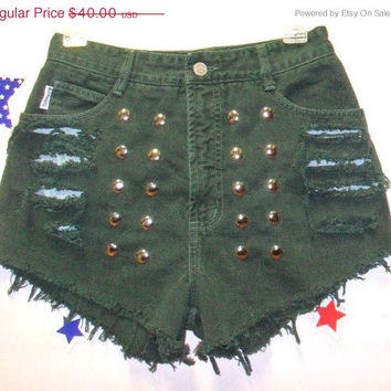ON SALE Vintage BONGO High Waisted Green  Denim Shorts - Studded--- -Waist  27  inches