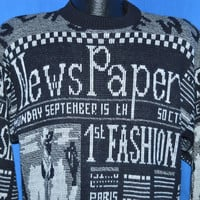90s Newspaper Fashion Pullover Sweater Large
