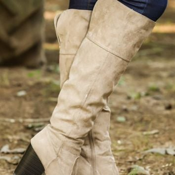 It's High Time Boots-Taupe