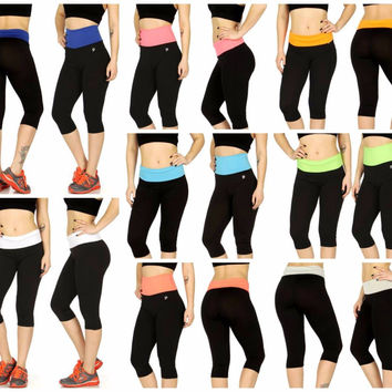 Plus Size Two Tone Capri Yoga Pants in Sizes 2X/3X in 8 Colors