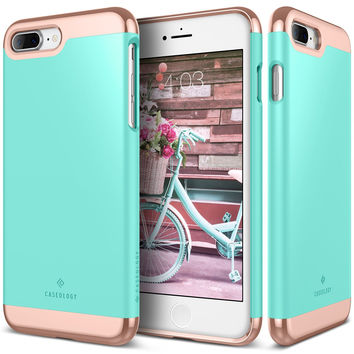 The Mint Green and Gold Dual Layer Slider / Soft Interior Cover iPhone 7 Plus Case