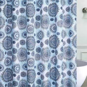 Blue Mandala Burst Canvas Fabric Shower Curtain with 12 Roller Hooks