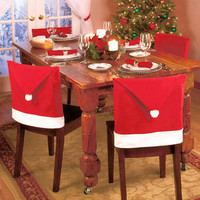 Red Christmas Hat Chair Cover