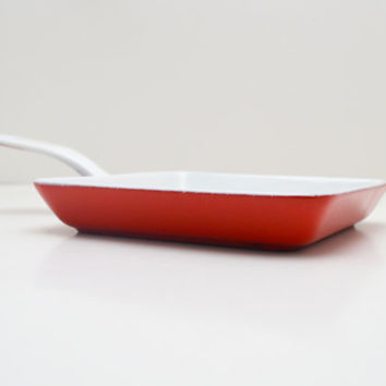 Vintage Prizer Ware Skillet, Small Red and White Enameled Cast Iron, circa 1950s