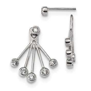 925 Sterling Silver Rhodium-plated CZ Front & Back Post Earrings