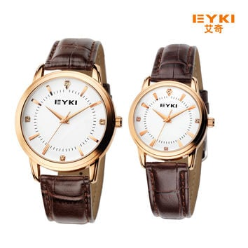 EYKI luxury brand watch women leather strap quartz-watch men fashion casual montre homme couple watch hour clock reloj hombre