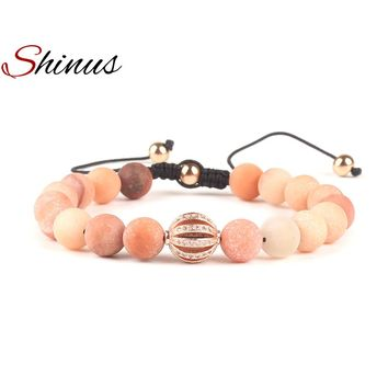 Shinus Charm Bracelets Bracelet Women Yoga Jewelry Natural Stones Mala Beads Energy Rose Gold Handmade Beaded Meditation Gifts