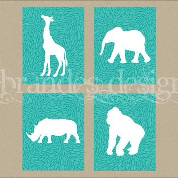 Any ONE 8x10 Graphic Print from the Safari Animal Nursery Art Set, Elephant, Giraffe, Gorilla, Rhino CUSTOM COLOR Nursery Prints