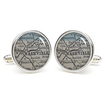 NASHVILLE  cufflinks , wedding gift ideas for groom,personalized gifts for dad,great gift ideas for men,groomsmen cufflinks,