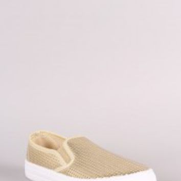 Qupid Perforated Slip On Sneaker