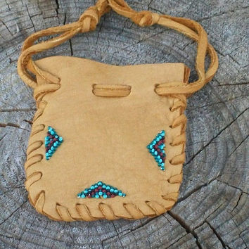 Beaded medicine pouch ,  Leather medicine bag , Carved fetish bag ,  Drawstring medicine bag