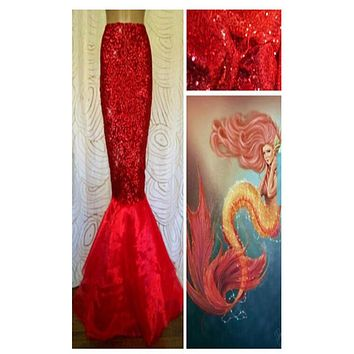 Red Sequin Stretch Spandex Mermaid Tail Skirt with Tulle Train