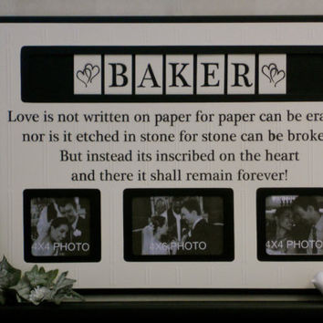 Personalized Name Photo Frame Custom Wedding Gift, Anniversary Love Father Mother Parents Quote Guest Book Frames Engagement - Black