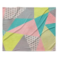 "Louise Machado ""Geometric Pastel"" Fleece Throw Blanket"