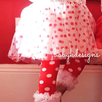CHRISTMAS Candy Dot red n White Chiffon Ruffle Legwarmers. Baby Leg Warmers.Girls Holiday / Red White Polka Dots Minnie Mouse Legwarmers