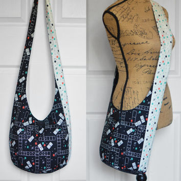Hobo Bag Hippie Purse Crossbody Bag Sling Bag Hippie Bag Boho Bag Bohemian Purse Geometric Handmade Purse Hobo Purse Slouch Bag Hippie Bag