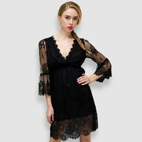 Black Lace Embroidered On Mesh V-Neck Flounce Sleeve Mini Dress