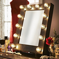 Faux Leather Broadway Hollywood Mirror