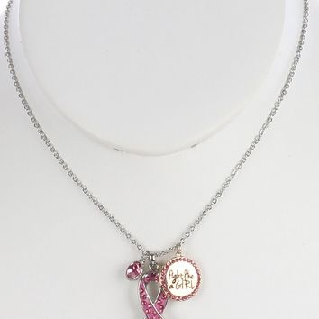 Breast Cancer Awareness Pink Ribbon Pendant Necklace