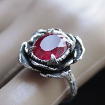 Ring Sterling Silver Red Facet Ruby