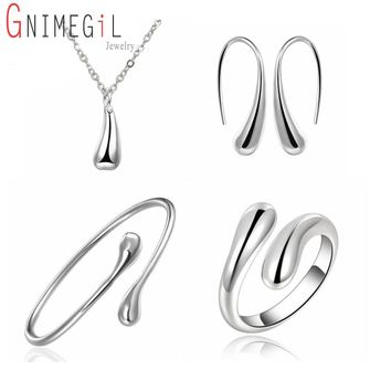 Big Promotion S222 Silver Color Water Drop Jewelry Sets Ring+Necklace Bangle+Earrings Women 925 Stamped Jewellry