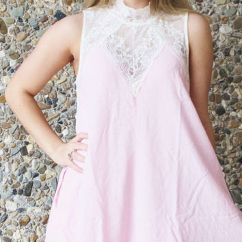 Peach Sleeveless Dress with Lace Top