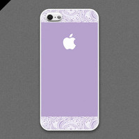 iPhone 5 case - White lace and Lavender color cases A - also available in iPhone 4 and iPhone 4S size