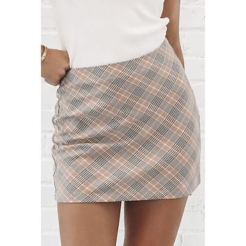 As If Peach Plaid Skirt