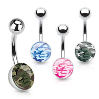 Camouflage Print Inlayed 316L Surgical Steel Navel Ring Belly Ring 14ga