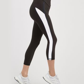 Michi Channel High Waisted Crop Legging - Black/White/Adriatic Blue