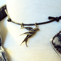 Swallow Necklace ~ Swallow Choker ~ Sparrow Necklace~ Flying Bird Necklace ~ Brass Bird Necklace~ Rock n Roll ~ Choker Necklace