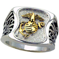United States Marines Men's Signet  Rhodium Plated Ring -Size