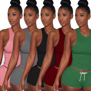 Two Piece Set women Tracksuit Sleeveless Skinny Sportwear Crop Top and Pants Set Women Casual Suits Vest Runway Outfit Sporting