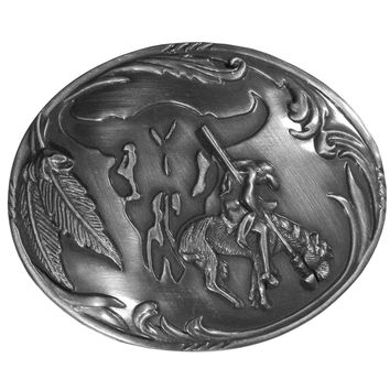 Sports Accessories - End of the Trail with Buffalo Skull Background Antiqued Belt Buckle