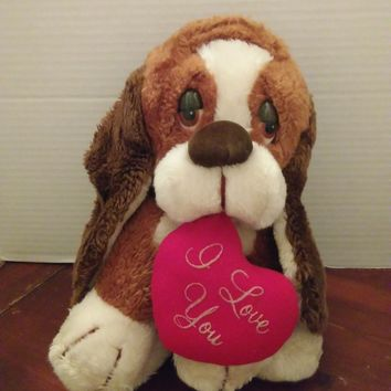 vintage 537 russ berrie baxter basset hound puppy dog plush stuffed animal
