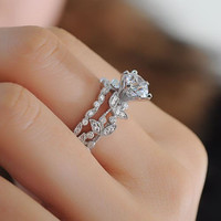 2 ctw CZ Rose Flower 925 Sterling Silver Engagement Ring Set